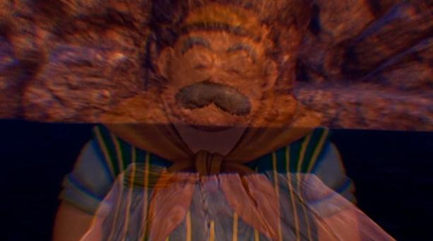 ドラゴンクエスト11PS4ゲームプレイ画面10年前のイシの村で今は亡き育ての父親テオの姿がじょじょに消えていく