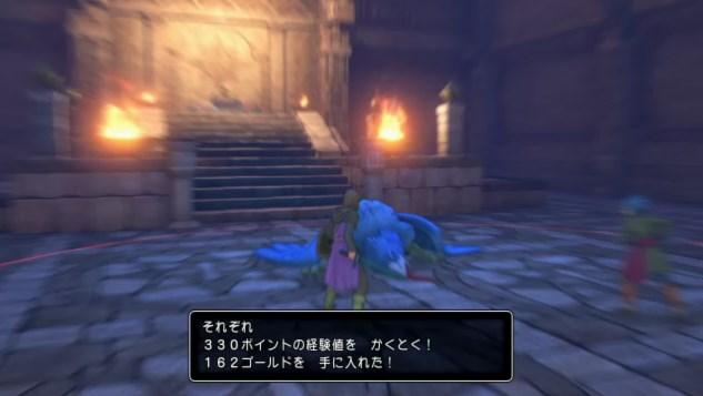 ドラゴンクエスト11PS4ゲームプレイ画面デルカダール神殿奥地でヘルビースト戦に勝利する絶妙な強さ