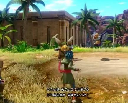 ドラゴンクエスト11PS4ゲームプレイ画面サマディー王国へ向かうところでぬすっとウサギと戦闘している