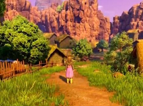 ドラゴンクエスト11PS4ゲームプレイ画面10年前のイシの村へ到着