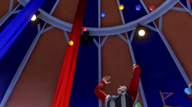 流浪の旅芸人シルビア6個の玉を上空に放り投げる