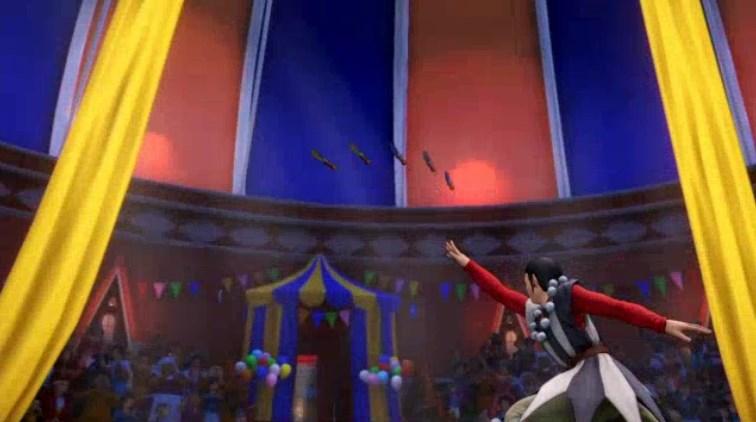 流浪の旅芸人シルビア客席に向けてダガー投げつける