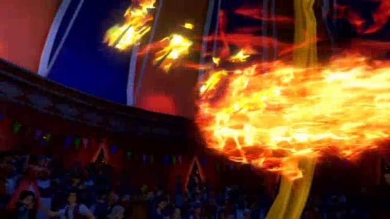 流浪の旅芸人シルビアの火吹き芸でダガーが燃え尽きる
