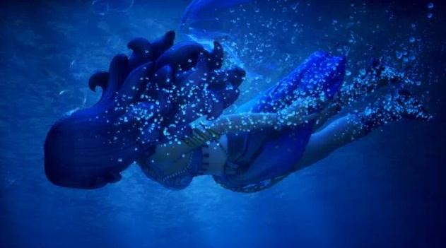 人魚ロミアが泡になって消えていく悲劇のシーン
