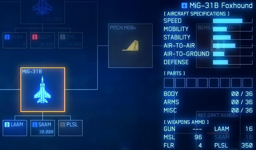 ゲームマスターの最終使用機体はMIG31Bロシア機で速度特化チューン