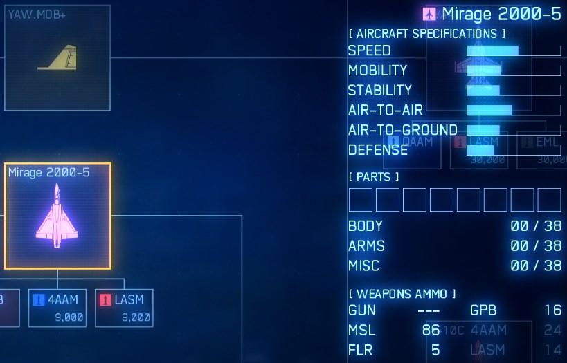 ゲーム終盤だというのにツリー序盤のミラージュ機体をエースコンバット7終盤で戦っているハード難易度のプレイヤー