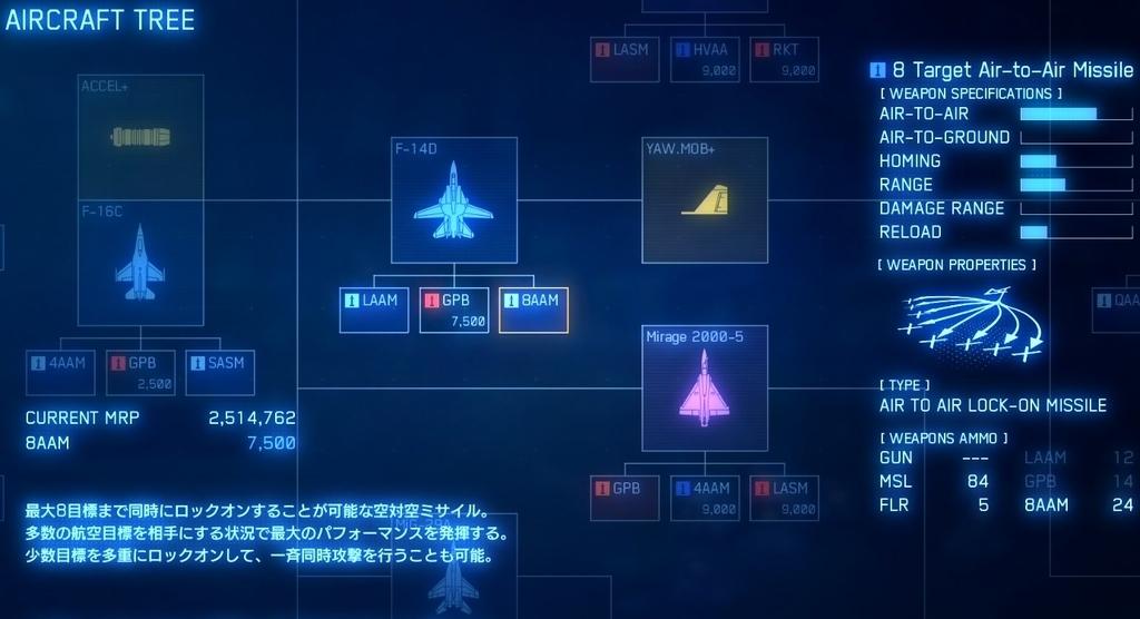 エースコンバット7エアクラフトツリー画面