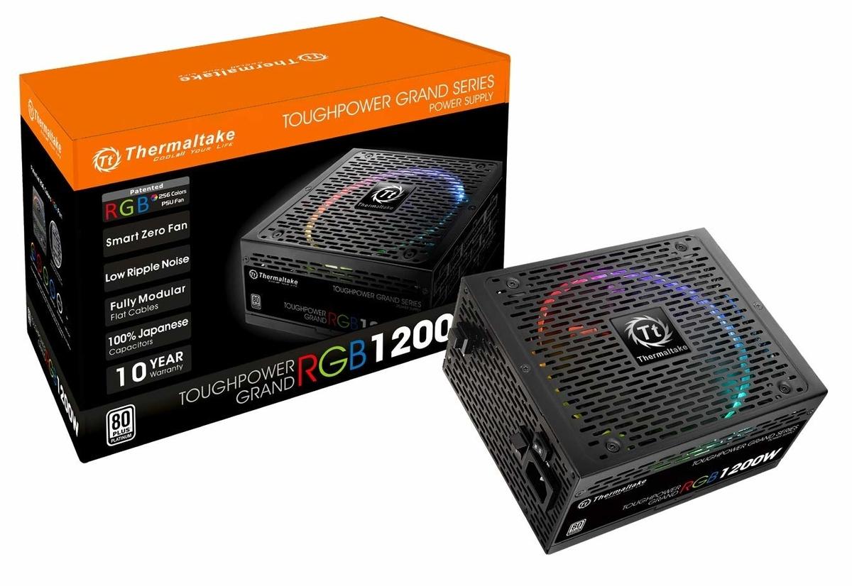 ゲームマスターXThermaltake社箱TOUGHPOWER1200WPlatinumを採用しマザーボードに取り付けたキラキラライトイメージ画像