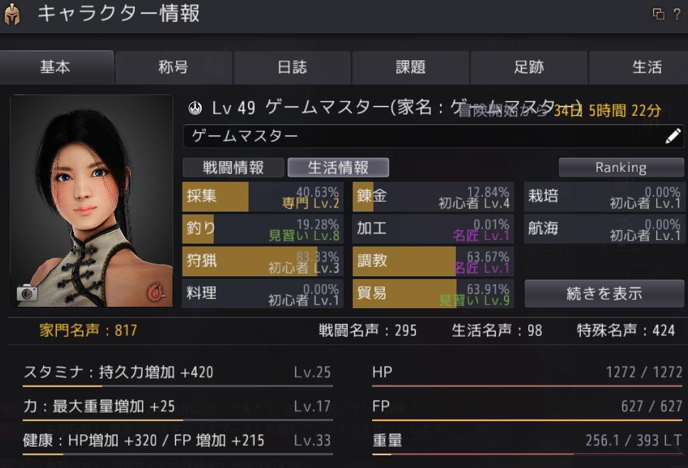 ゲームマスターX黒い砂漠ゲームマスタ一情報画面加工レベル名匠レベル1
