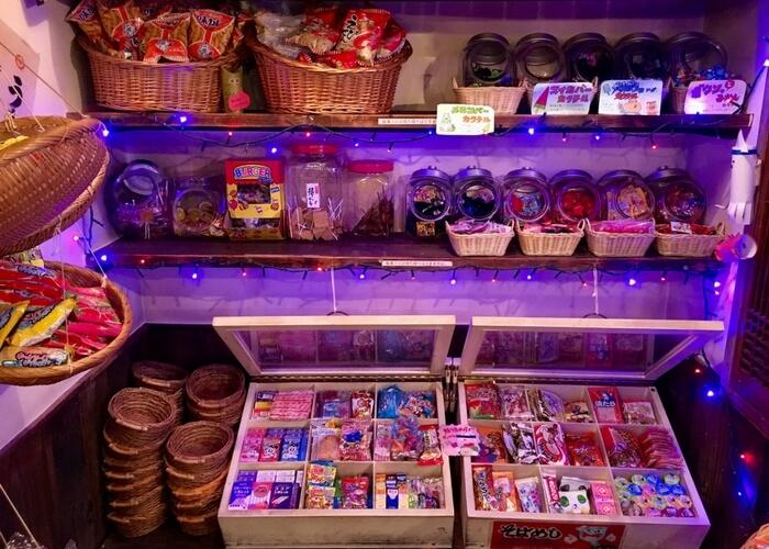 池袋駄菓子バーのお菓子コーナー、メニュー