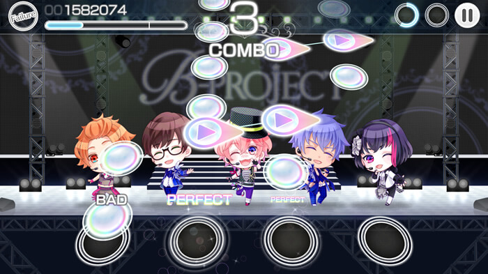 B-PROJECT 無敵*デンジャラス(Bプロ)リズムゲームのプレイ画面