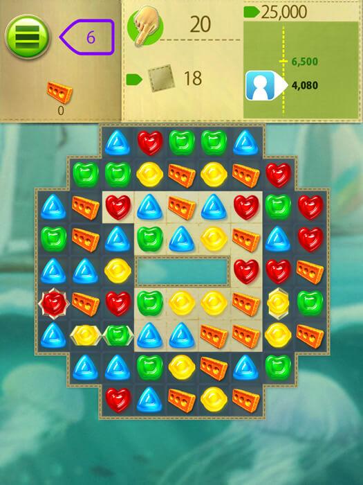 中毒性あるオススメのマッチ3パズルの無料アプリ、グミドロップのステージ画面