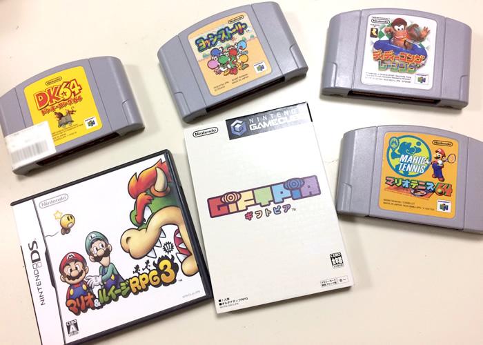ヨッシーストーリー、ディディーコングレーシング、マリオ&ルイージRPG3、ギフトピア、マリオテニス64、ドンキーコング64を買いました