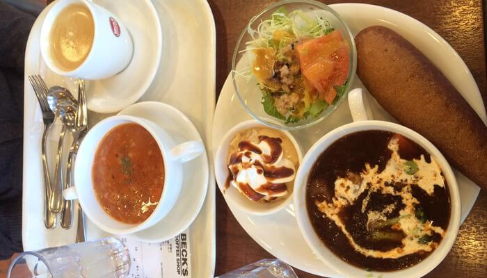 板橋駅にあるBECK'S COFFEE SHOPでミネストローネとブレンドコーヒー、ごろごろ冬野菜とビーフのシチュープレートを注文