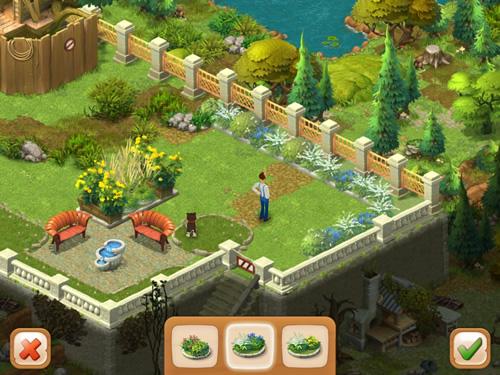 3マッチパズル、Gardenscapes。庭をカスタマイズする様子