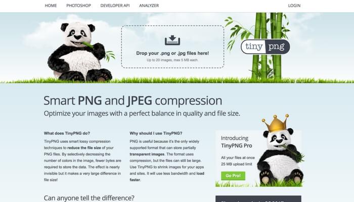 JPEGやPNGの画像を圧縮して軽くしてくれるサイト、TinyPNGの使い方紹介