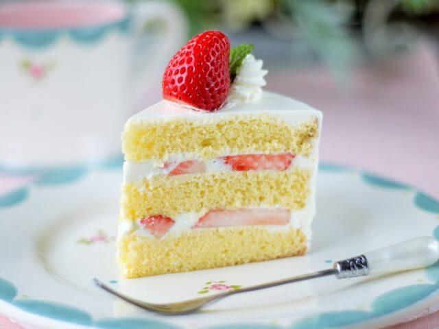 altの付け方の例題その1、お皿に乗った美味しそうなショートケーキ