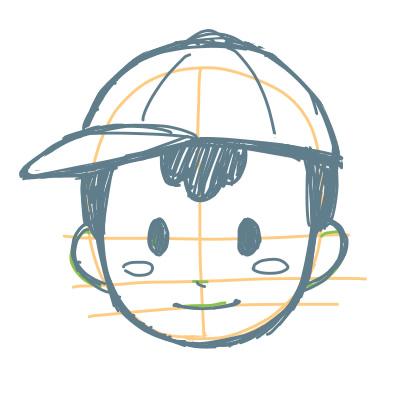 カンタンに絵が上達する、子どもの顔の描き方3(MOTHER2よりネス)
