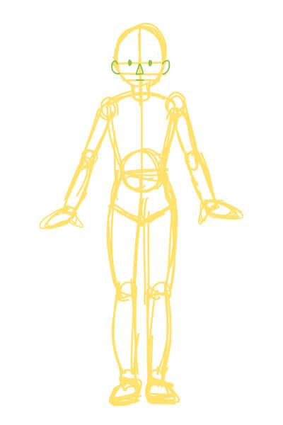 下手くそな体の描き方1(スマブラのピットくん)