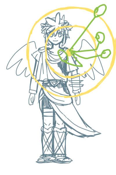 カンタンに絵が上達する、腕の描き方2(スマブラのピットくん)