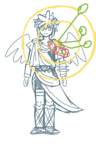 カンタンに絵が上達する、腕の描き方3(スマブラのピットくん)