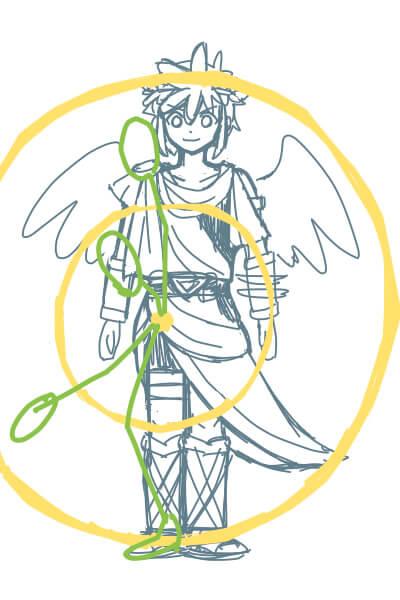 カンタンに絵が上達する、脚の描き方2(スマブラのピットくん)