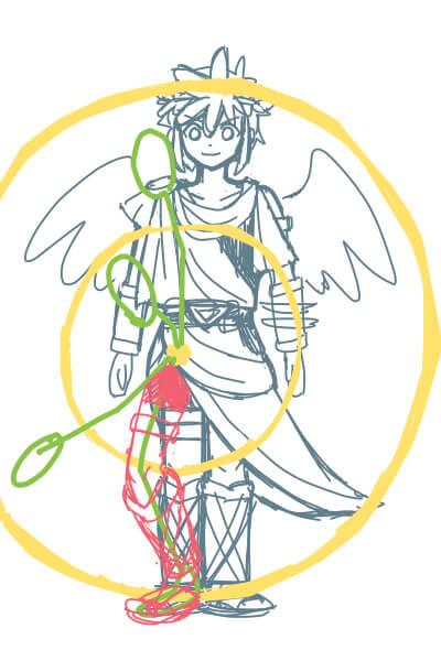 カンタンに絵が上達する、脚の描き方4(スマブラのピットくん)