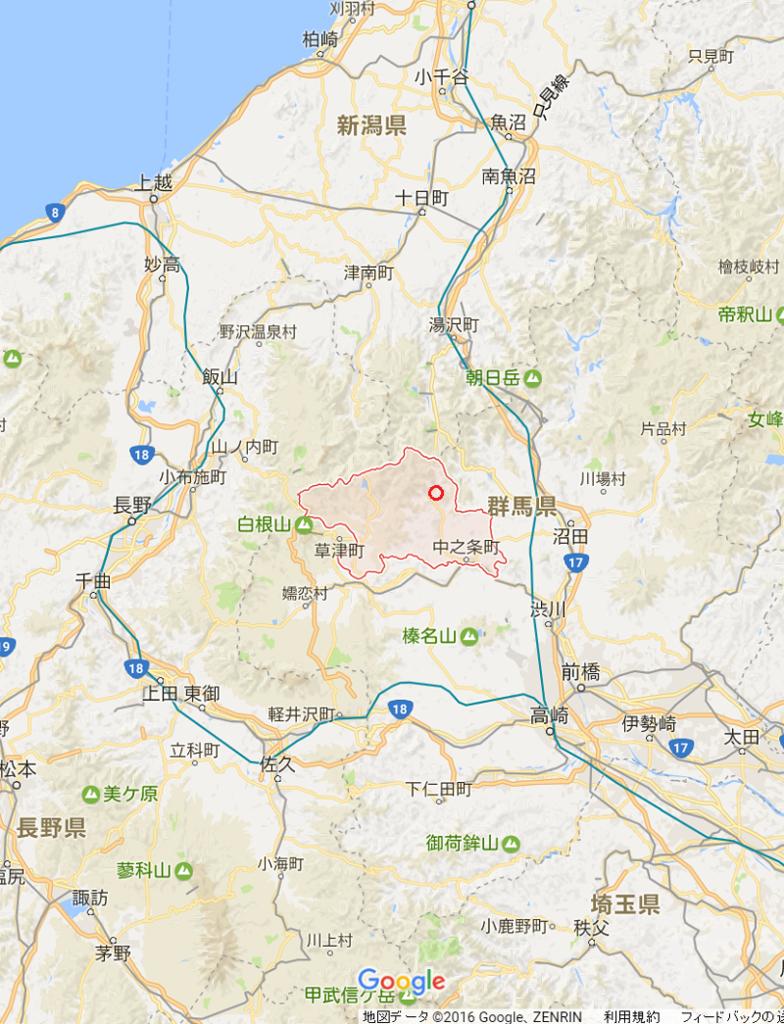中之条町町の位置を示したGoogle Map
