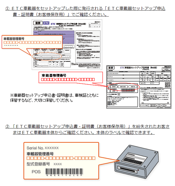 車載器管理番号の確認方法を示した画像1