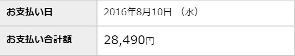 2016年8月10日の支払額が28,490円であることを示したVpassの画面