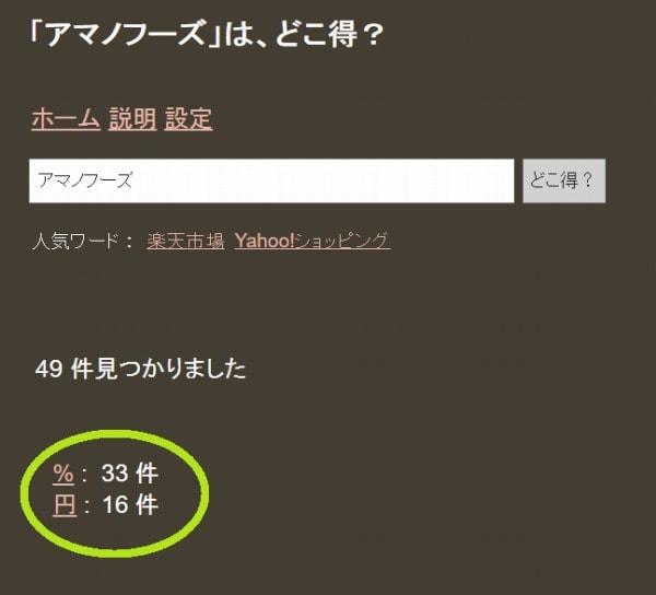 「アマノフーズ」を検索したときの%と円の検索件数を表示した画面