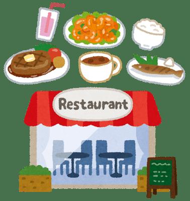 レストランの外観と料理のイメージ画像