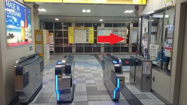 ゆいレール牧志駅の改札を出札する前の写真