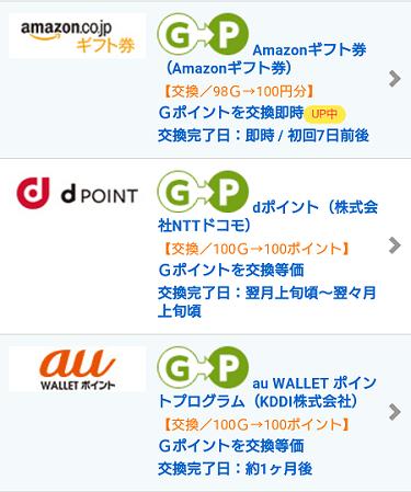 Gポイントの交換先リスト - amazon, dポイント, auウォレット