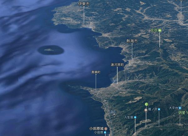 伊豆真鶴付近のGoogle Map 3D