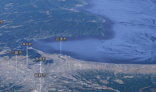 沼津付近のGoogle Map 3D
