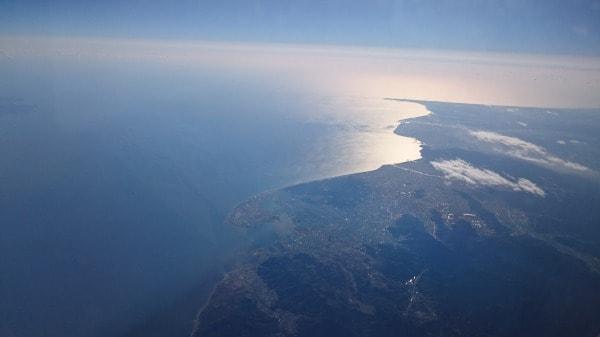 富士市近辺から御前崎を臨む写真