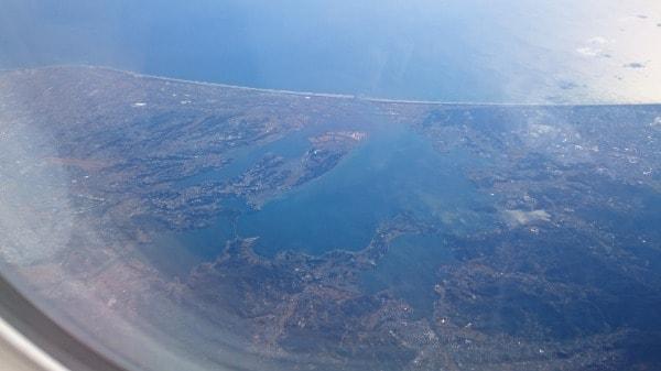 浜名湖の機内からの写真