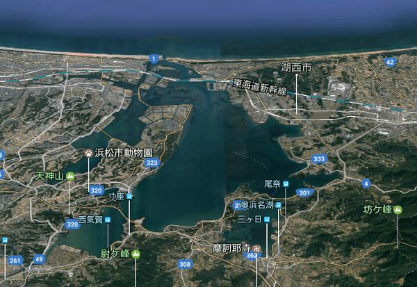 浜名湖のGoogle Map 3D