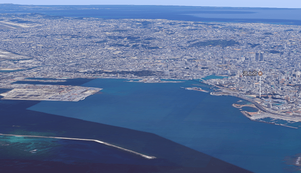 那覇空港離陸直後のGoogle Map 3D