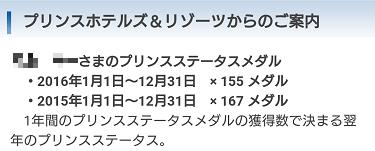 私のプリンスステータスメダル獲得実績 2015年167メダル 2016年155メダル