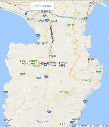 ラフォーレ修善寺の位置を示した伊豆半島の地図
