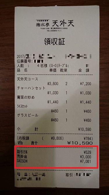 天外天のレシート 5%割引の後に3,000円引かれている