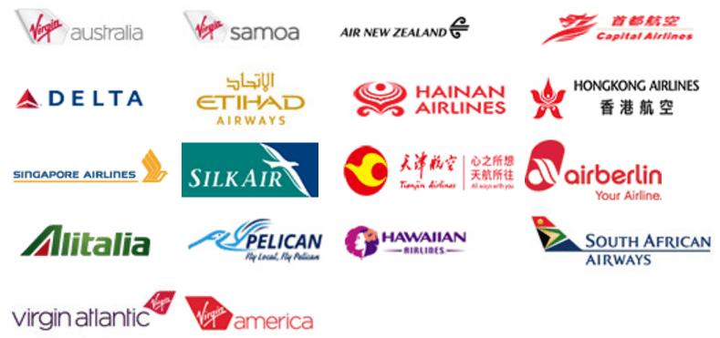 Velocityが提携している航空会社のロゴ一覧