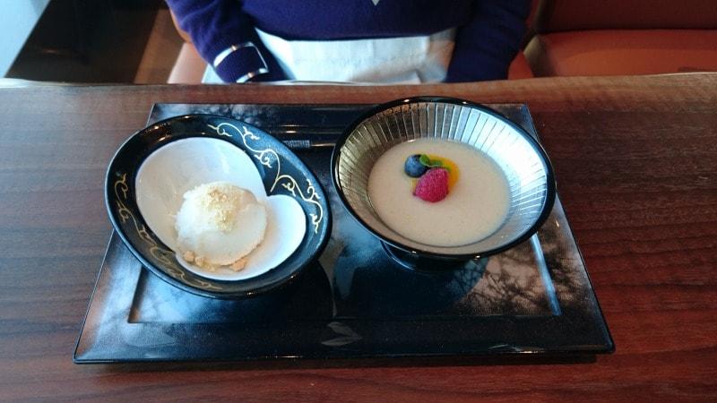 八海山コーヒー風味プリンとシャーベット