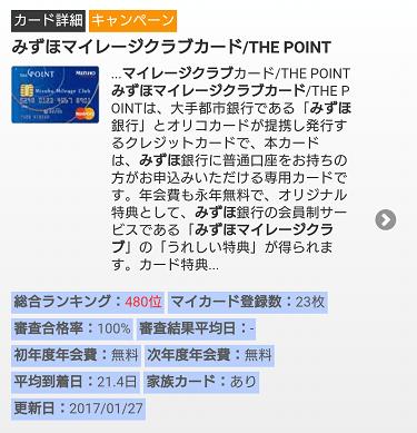 クレファンのおける みずほマイレージクラブカード/THE POINT の説明