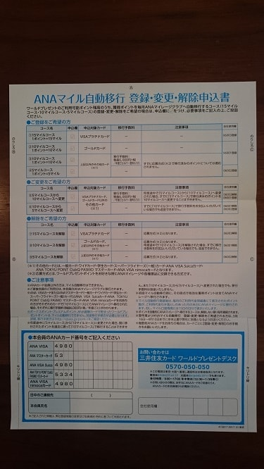 ANAマイル自動移行 登録・変更・解除 申込書 中身