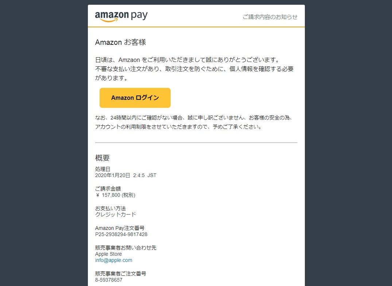 Amazon Pay ご請求内容のお知らせ
