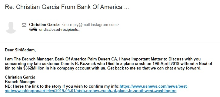 Re: Christian Garcia From Bank Of America ...