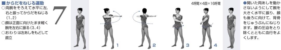 ラジオ体操第2の「からだをねじる運動」。/引用元:「ラジオ体操」の図解(第1・第2)
